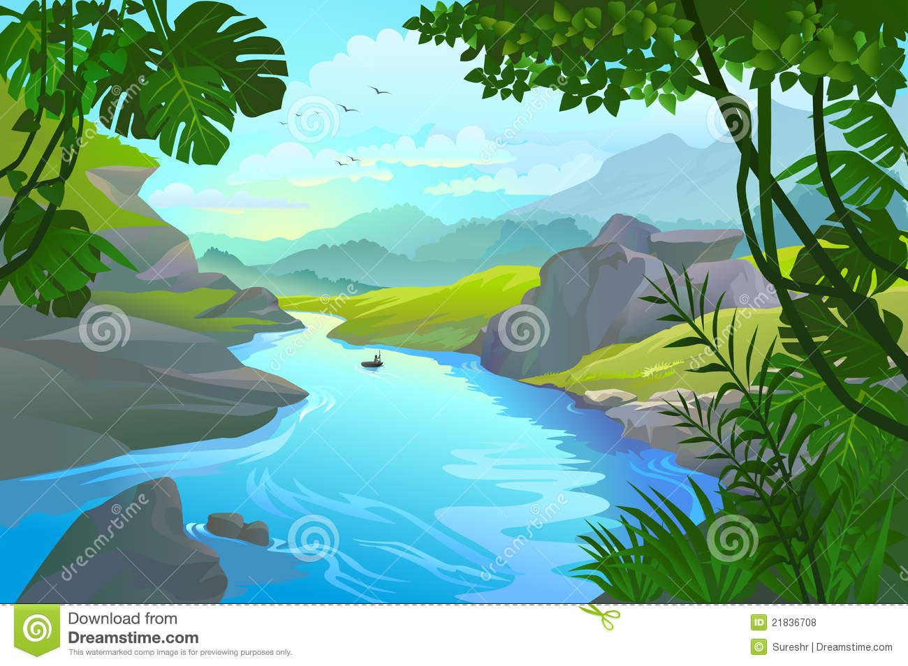 Small river clipart svg download River\'s Edge: River Clipart Boat By A Mountain River svg download