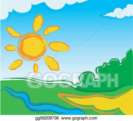 Small river clipart vector royalty free library Vector Art - Vector landscape with sun. Clipart Drawing ... vector royalty free library