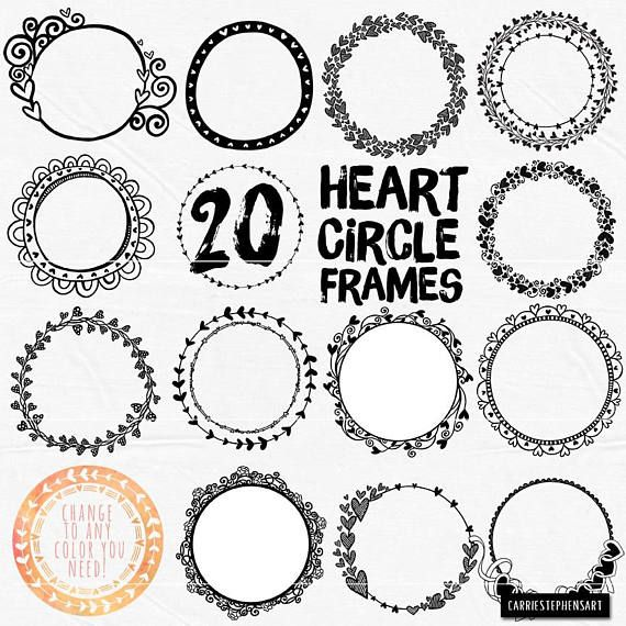 Small round frame clipart banner black and white library Pin by Tina Jamie Steffey on Cricut | Circle borders, Heart ... banner black and white library