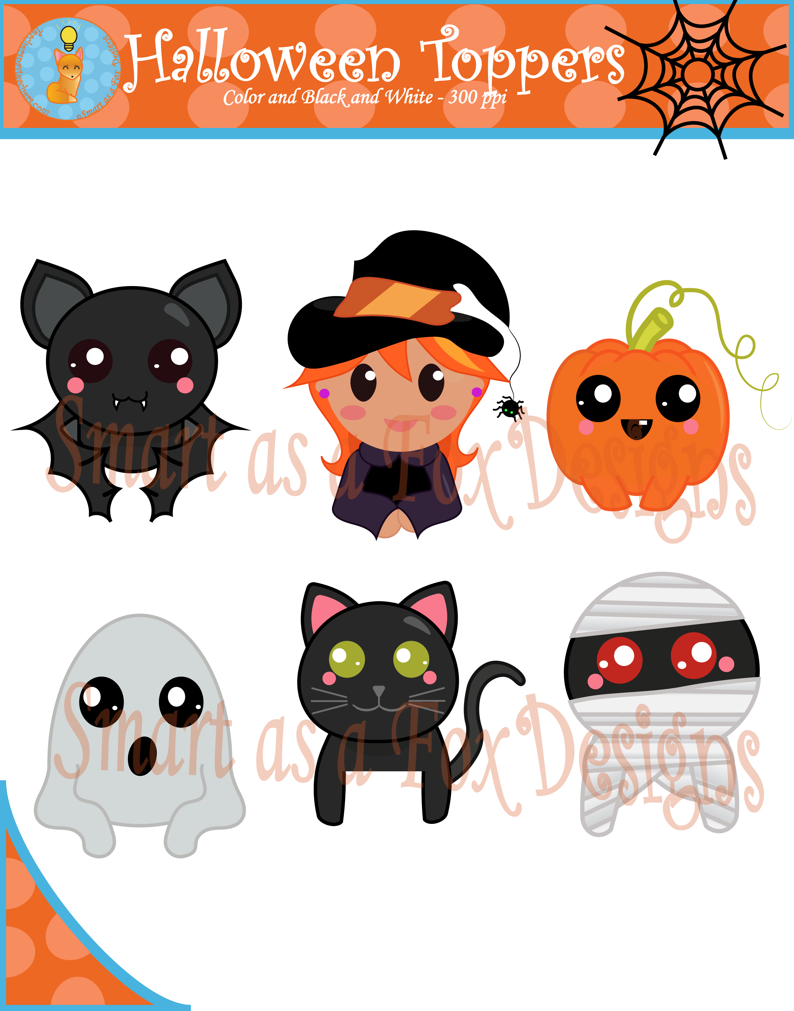 Thanksgiving display clipart graphic free download Halloween Topper Digital Clipart (Blacklines included) | Fox design graphic free download