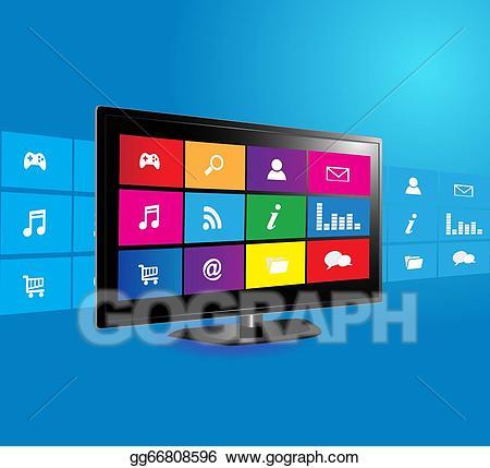 Smart tv clipart clip transparent download Stock Illustration - Smart tv. Clipart gg66808596 - GoGraph clip transparent download