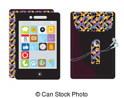 Smartphone app clipart banner black and white download Vector Clip Art of Iphone app icons background - Smartphone cloud ... banner black and white download