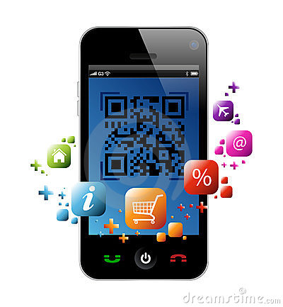 Smartphone app clipart royalty free Smart Phone: QR Code App Vector Illustration Royalty Free Stock ... royalty free