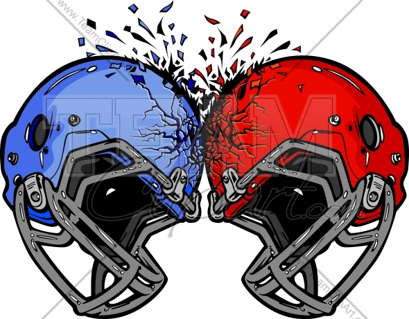 Smashed football player clipart image free download Football Helmets Smashing into Each other Vector Clipart ... image free download