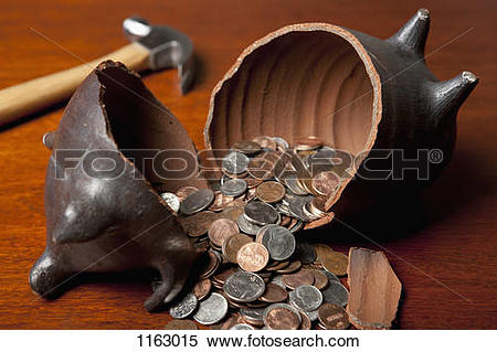 Smashed open piggy bank clipart picture royalty free download Stock Image of Piggy bank broken open by hammer 1163015 - Search ... picture royalty free download