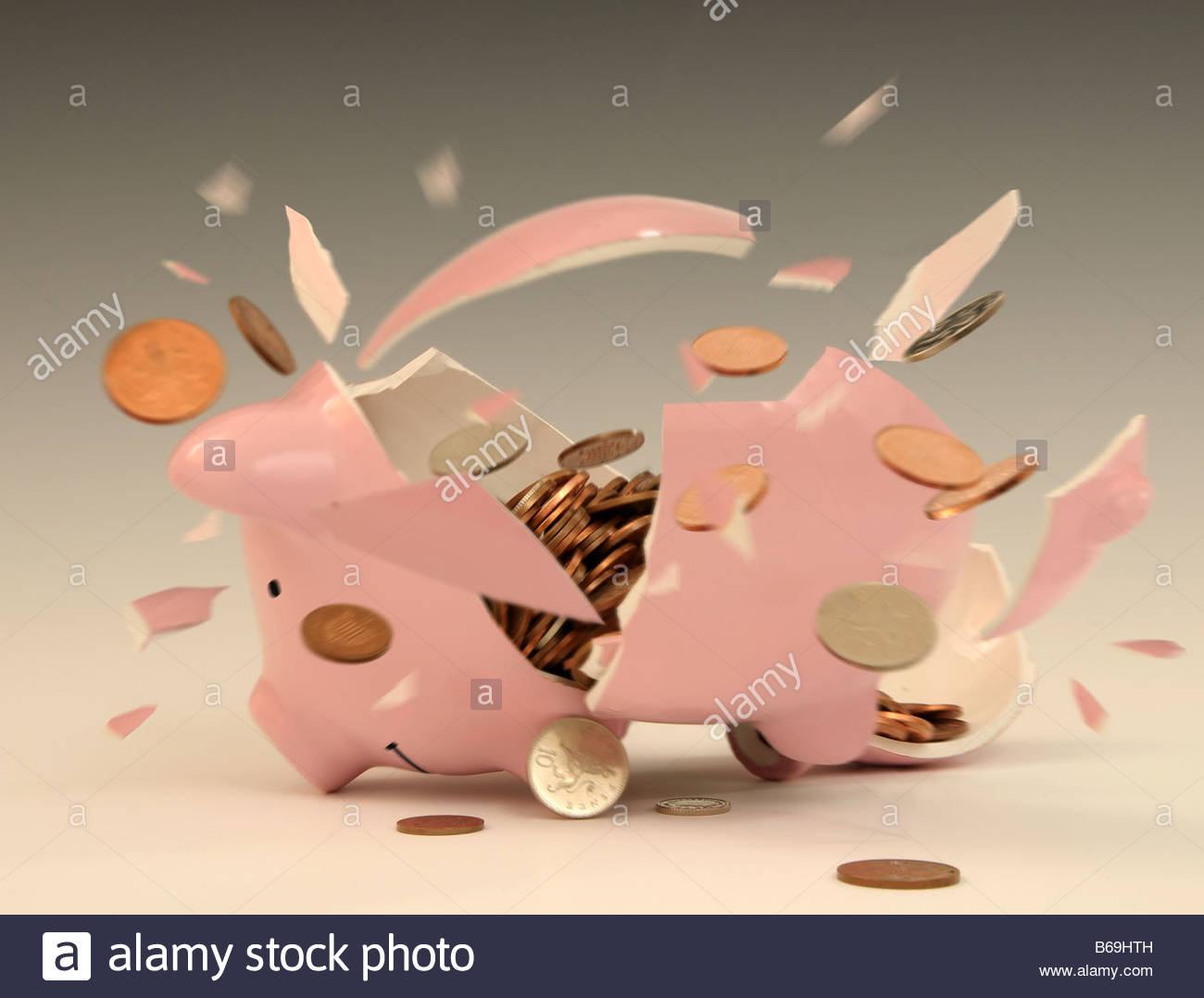 Smashed open piggy bank clipart svg freeuse Piggy Bank Being Smashed Open, Image By Tony Rusecki Stock Photo ... svg freeuse