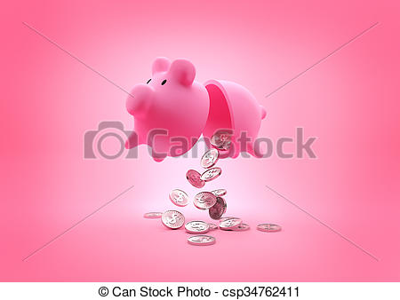 Smashed open piggy bank clipart image black and white stock Clipart of A broken Piggy Bank. Open piggy bank dropping coins ... image black and white stock