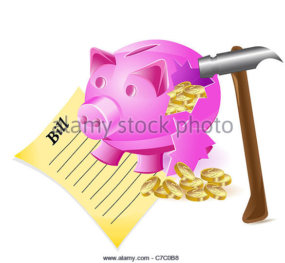Smashed open piggy bank clipart black and white download Money Box Broken Stock Photos & Money Box Broken Stock Images - Alamy black and white download