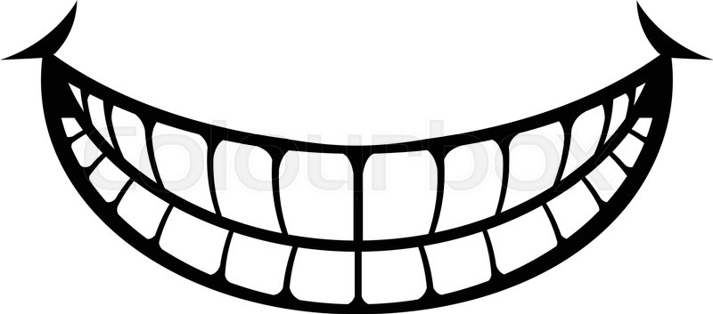 Smile getting bigger black and white clipart banner black and white library Big Happy Toothy Cartoon Smile vector ... | Stock vector ... banner black and white library