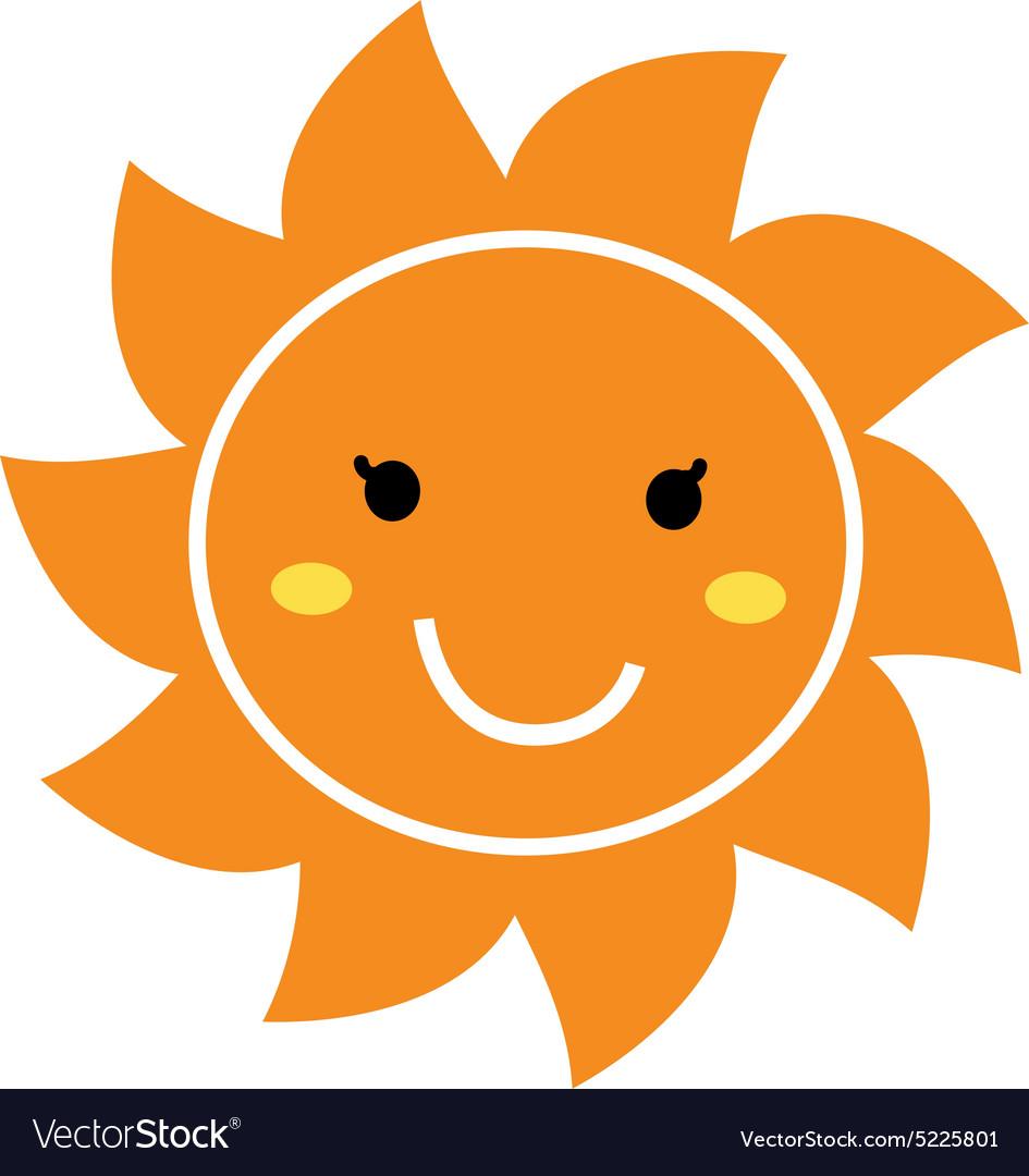 Smile vector clipart picture black and white download Pretty orange smiling Sun mascot clipart picture black and white download