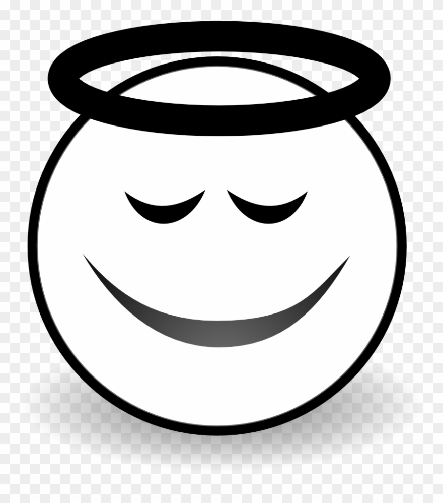 Smiley angel face clipart vector black and white library Net Clip Art Face Angel Black White Line Art Svg - Black And ... vector black and white library