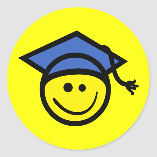 Smiley face graduation clipart picture download Happy Face Graduate Graduation Classic Round Sticker picture download