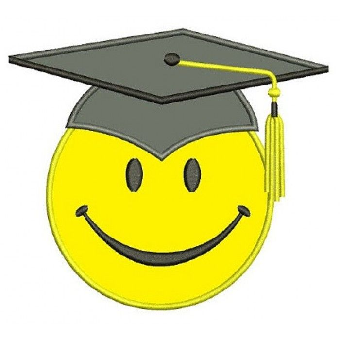 Smiley face graduation clipart image freeuse download Smiley Face Graduation Applique Machine Embroidery Digitized ... image freeuse download