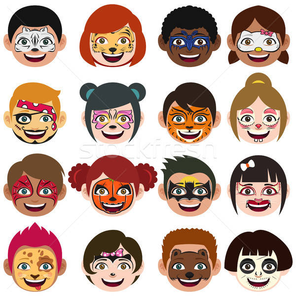 Smiley face painting wet paint clipart royalty free library Face Painted Kids Illustration vector illustration ... royalty free library