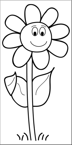 Smiling daisy clipart banner transparent Clip Art: Smiling Daisy B&W - This cartoon image of a ... banner transparent