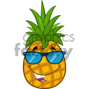 Smiling pineapple clipart clip art black and white stock Royalty Free RF Clipart Illustration Smiling Pineapple Fruit With Green  Leafs And Sunglasses Cartoon Mascot Character Design Vector Illustration ... clip art black and white stock