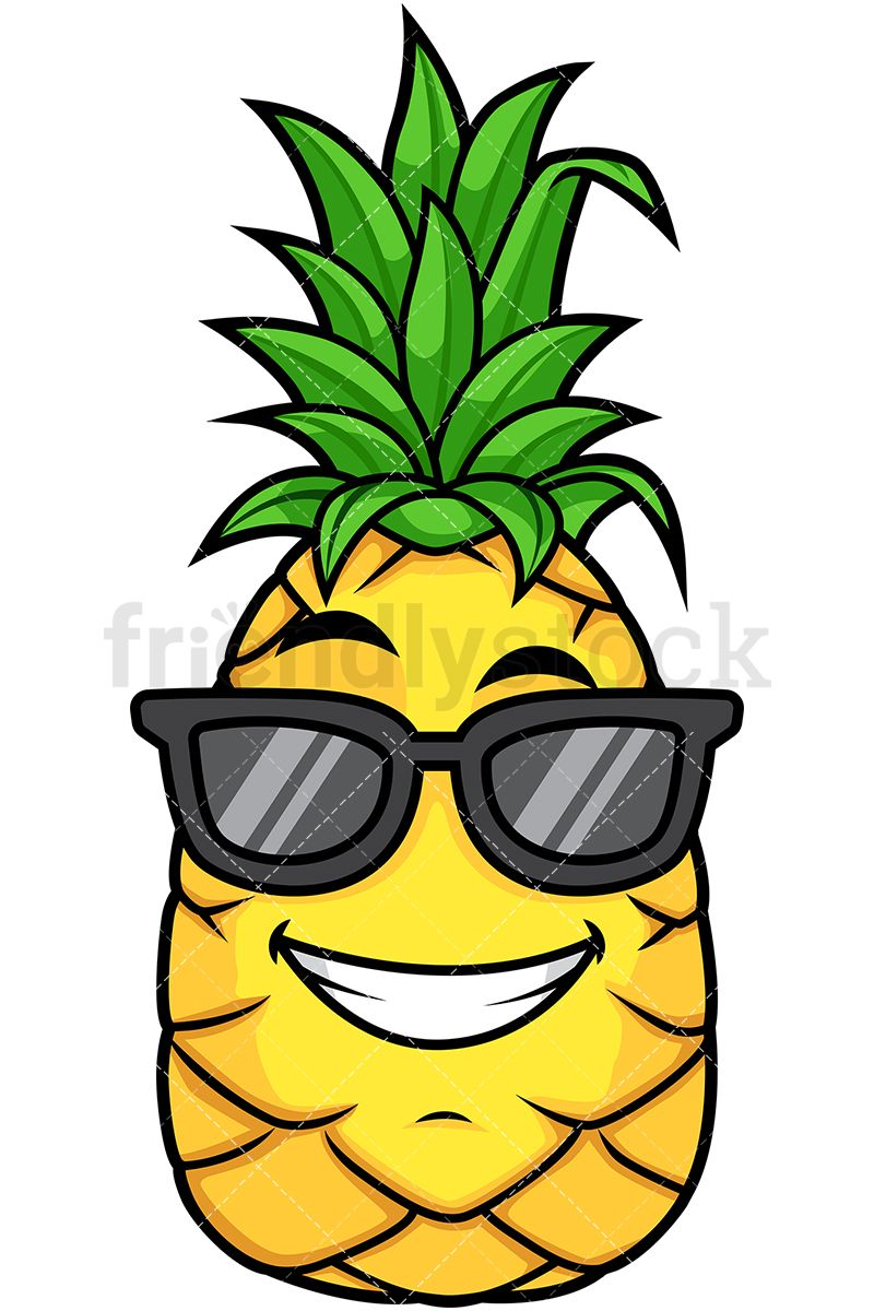 Smiling pineapple clipart picture library Pineapple Wearing Sunglasses | Fruit character | Cartoon ... picture library