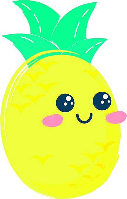 Smiling pineapple clipart clipart freeuse Amazon.com: Cute Kawaii Pineapple with Smiling Face Rosy ... clipart freeuse