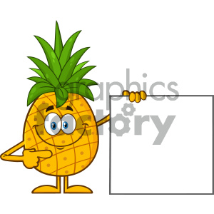 Smiling pineapple clipart picture freeuse library Royalty Free RF Clipart Illustration Smiling Pineapple Fruit With Green  Leafs Cartoon Mascot Character Pointing To A Blank Sign Vector Illustration  ... picture freeuse library