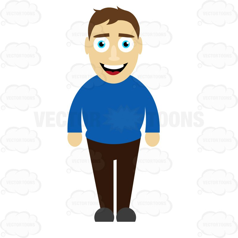 Smiling shirt clipart svg freeuse download Man In A Blue Shirt Standing And Smiling Cartoon Clipart ... svg freeuse download