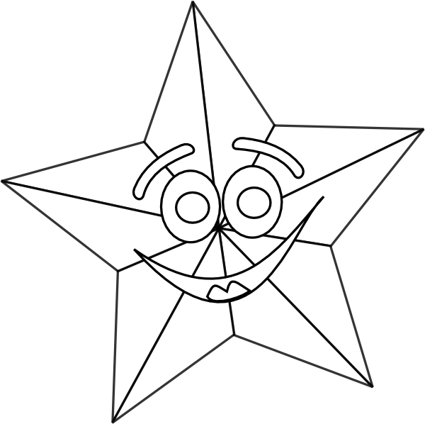 Smiling star clipart black and white vector freeuse download Smiling Star Outline Clip Art at Clker.com - vector clip art online ... vector freeuse download