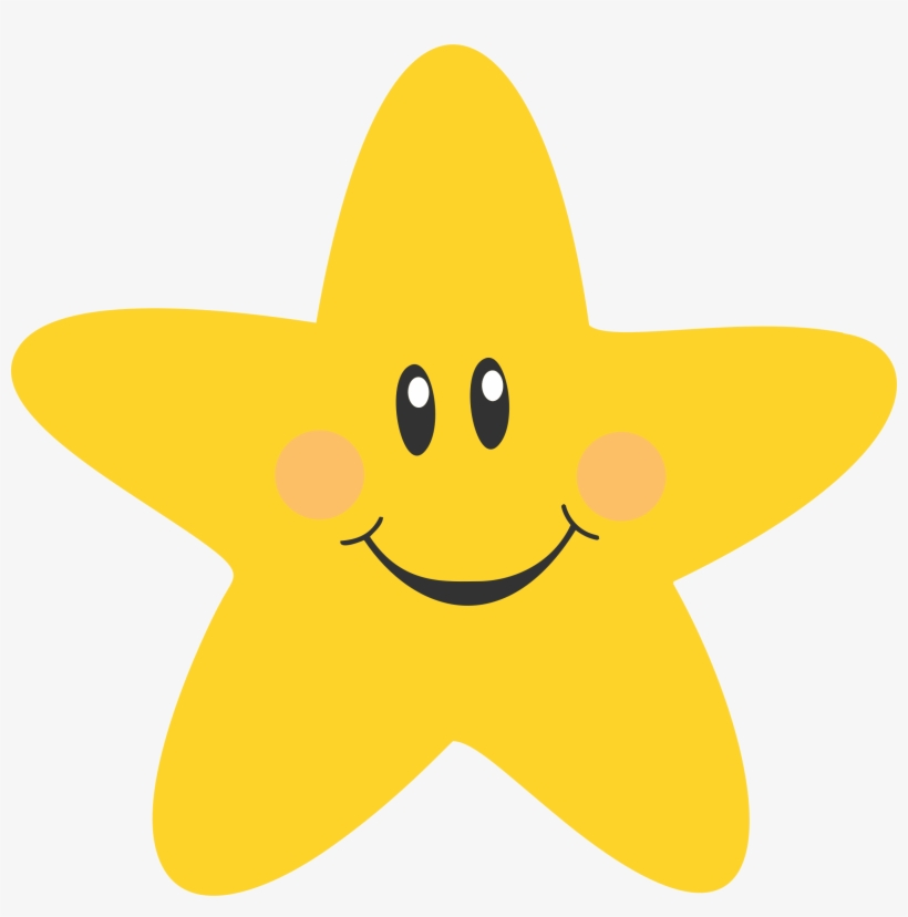Star with smile clipart black and white transparent