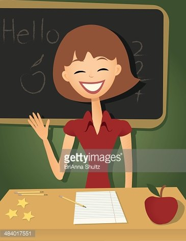 Smiling teacher clipart image black and white stock Smiling Teacher IN A Classroom, Retro Style premium clipart ... image black and white stock