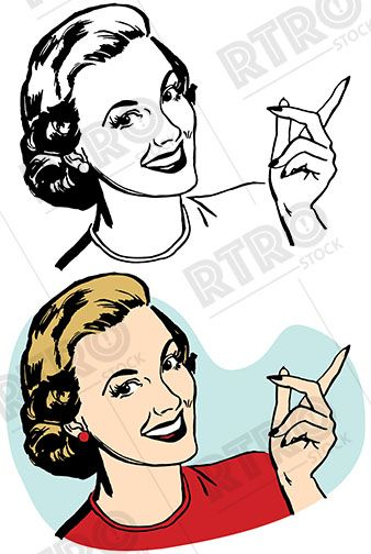 Vintage retro clipart woman image free stock Smiling woman pointing at something interesting vintage ... image free stock
