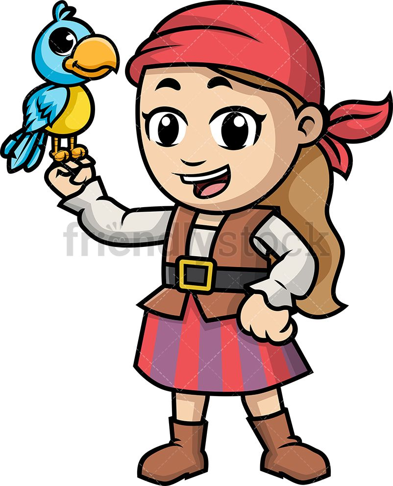 Smilingparrot clipart clip art download Pirate Girl Holding Parrot | Teaching kindergarten clip art download