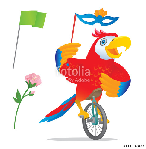 Smilingparrot clipart black and white library Smiling parrot riding a unicycle holding a carnival mask ... black and white library