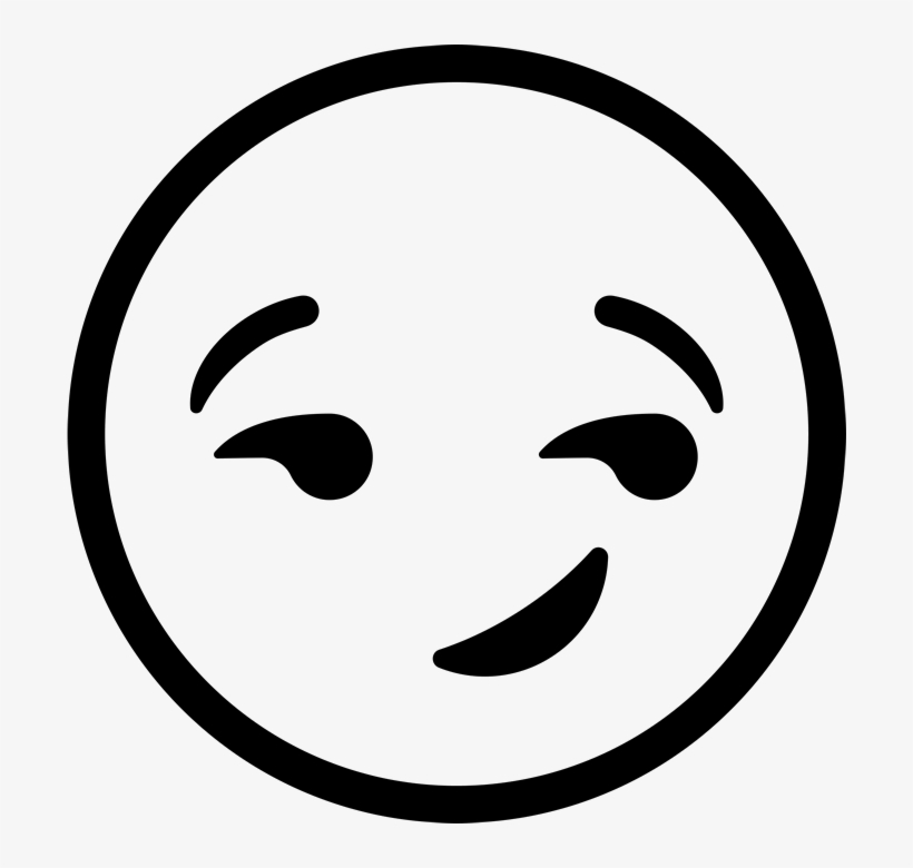 Emoji clipart black and white free png free Smirking Face Emoji Rubber Stamp - Emoji Clipart Black And ... png free