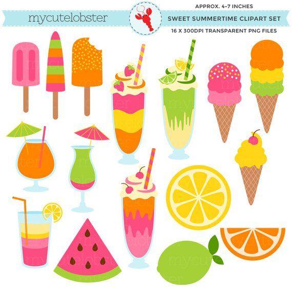 Smmertime clipart banner transparent stock Sweet Summertime Clipart Set - ice cream, summer, milkshakes ... banner transparent stock