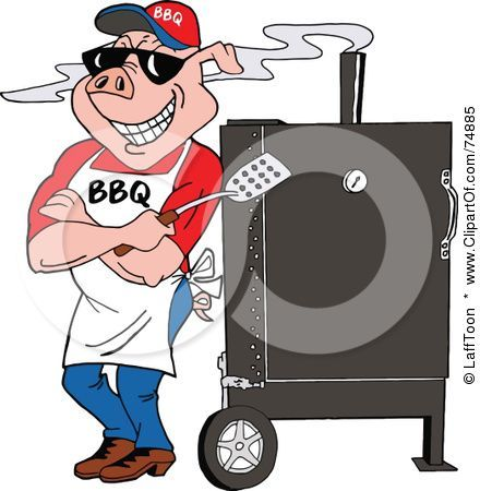 Smoking meats clipart graphic royalty free download Happy cartoon pig chef standing beside smoking bbq rib ... graphic royalty free download