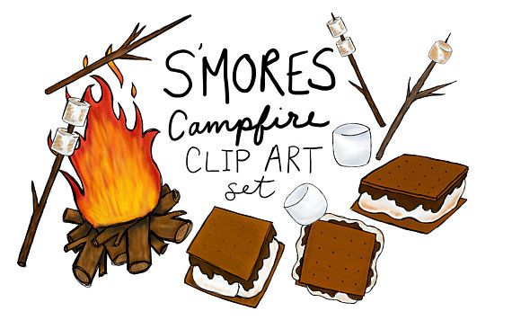 Smore s clipart clip art black and white Hand drawn S\'mores clip art set, digitally drawn clip art ... clip art black and white