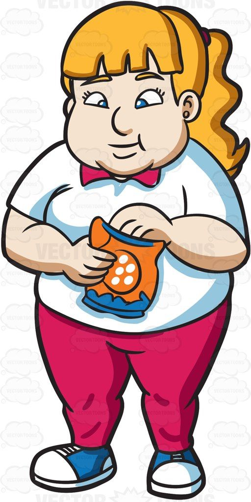 An overweight woman snacking on potato chips #cartoon ... clip library download