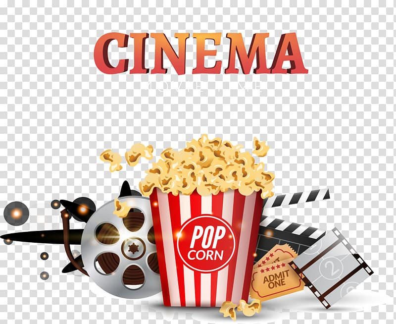 Cinema Movie Time poster, Popcorn Cinema Clapperboard Banner ... clip download