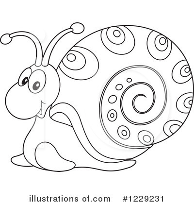 Snail Clipart #1229231 - Illustration by Alex Bannykh clipart black and white