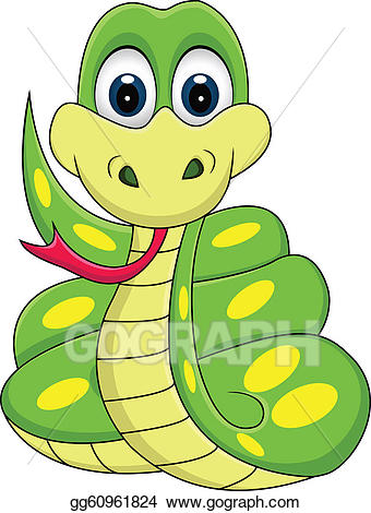 Snake cartoon clipart clipart black and white Vector Illustration - Funny snake cartoon. EPS Clipart ... clipart black and white
