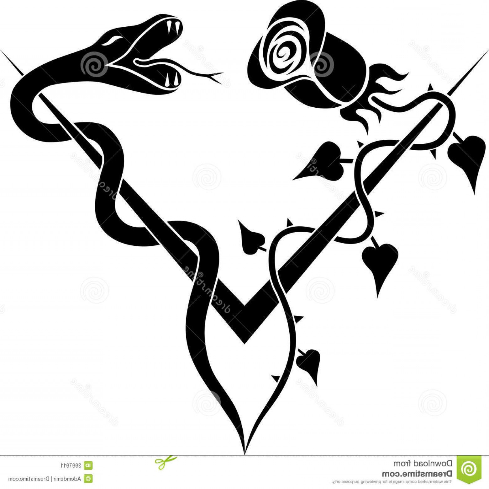 Snake coiled around a branch black and white clipart svg black and white download Stock Image V Rose Snake Tattoo Image | SOIDERGI svg black and white download