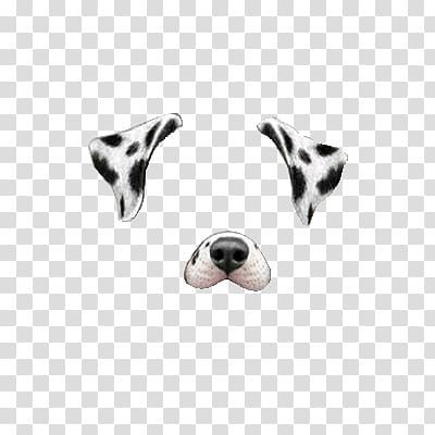 Snapchat filter clipart dog vector free library Black and white dog ear and nose illustration, Snapchat ... vector free library