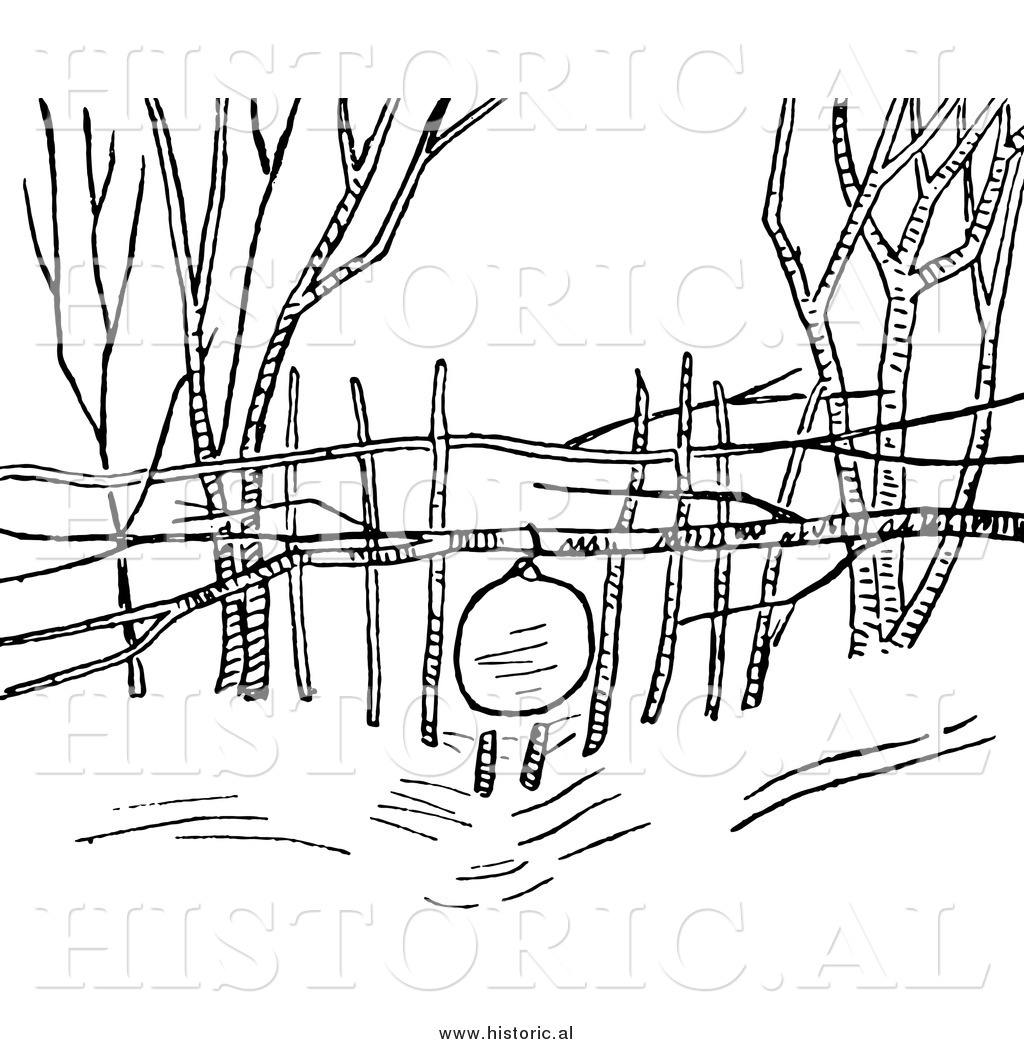 Snare trap clipart banner black and white Clipart of a Snowshoe Rabbit Snare Trap - Black and White ... banner black and white