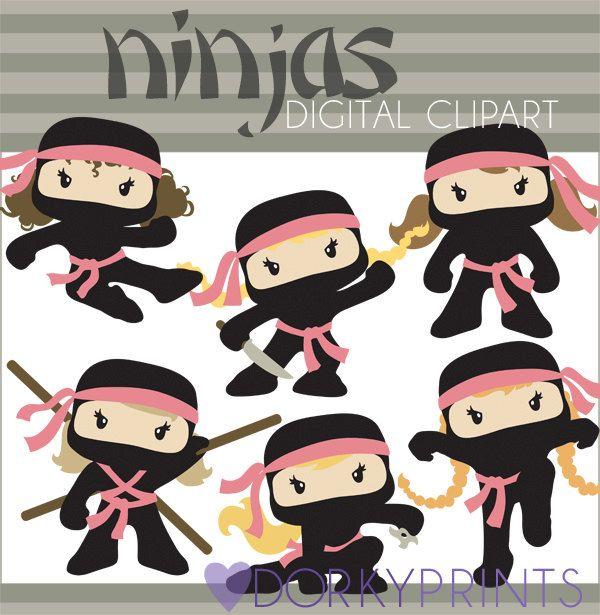 Sneaky girl clipart black and white Ninja Girls Hero Clipart | Decorating Templates | Ninja girl ... black and white