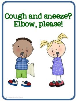 Sneeze office clipart image stock Cough and Sneeze? Elbow, please! {FREE POSTER} | School ... image stock
