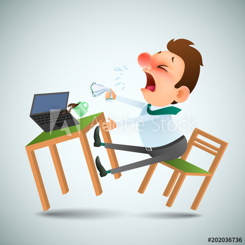 Sneeze office clipart graphic download funny cartoon man is sick and sneezes in the workplace ... graphic download