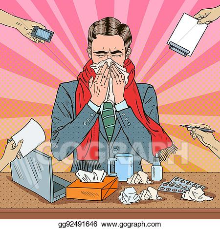 Sneeze office clipart image library stock Clip Art Vector - Pop art businessman sneezing at multi ... image library stock