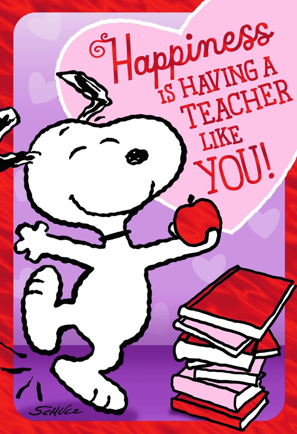 Snoopy and teacher clipart clip download Peanuts® Dancing Snoopy Valentine\'s Day Card for Teacher clip download
