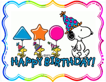 Snoopy birthday clipart transparent download Snoopy Theme Birthday Chart transparent download