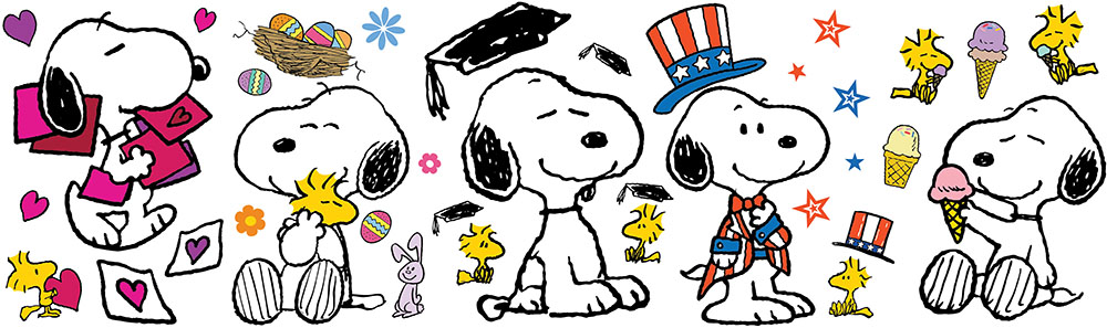 Peanuts® Spring Summer Snoopy Poses Bulletin Board Set graphic freeuse