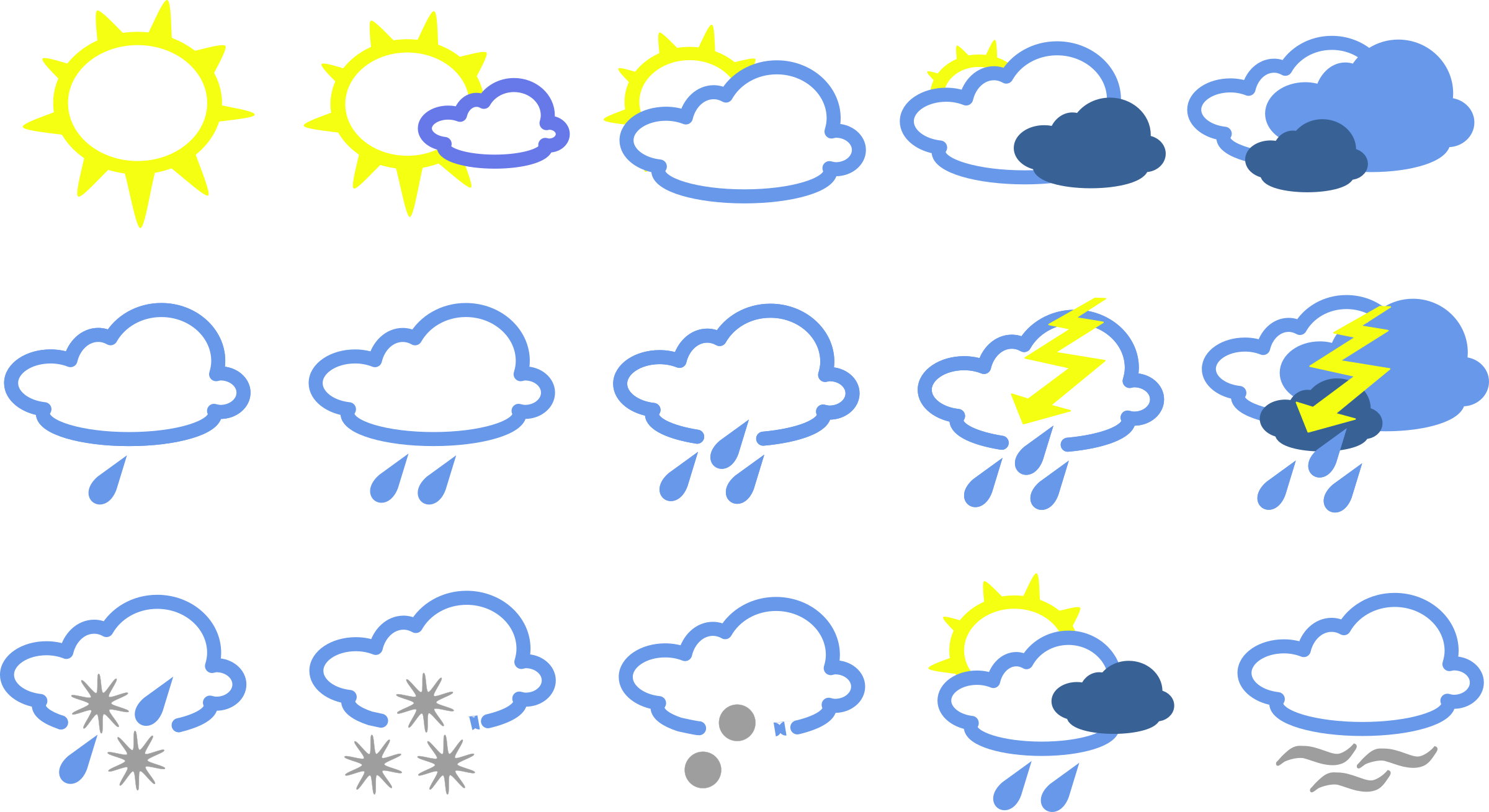 Snow and sun clipart svg download Clipart - simple weather symbols svg download
