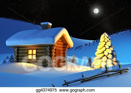 Snow cabin clipart clip royalty free library Stock Illustration - House in snow mountain . Clipart ... clip royalty free library